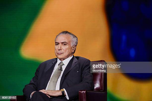 Michel Temer president of Brazil listens during a Bloomberg Television interview in New York US on Monday Sept 19 2016 Temer expects significant...
