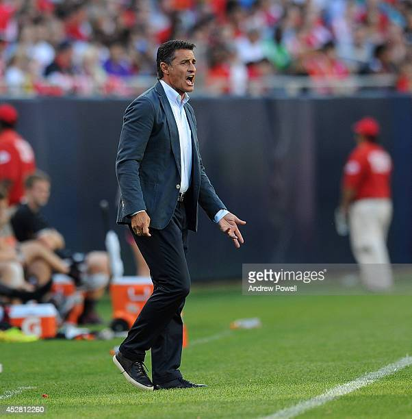 Michel the manager of Olympiacos reacts during the International Champions Cup match between Liverpool and Olympiacos at Soldier Field on July 27...