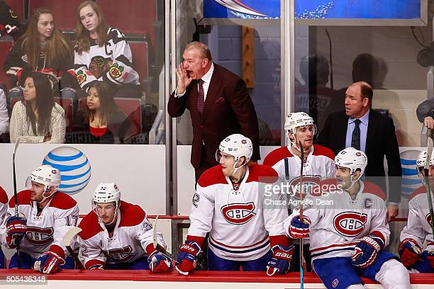 Michel Therrien head coach of the Montreal Canadiens yells out in the third period of the NHL game against the Chicago Blackhawks at the United...