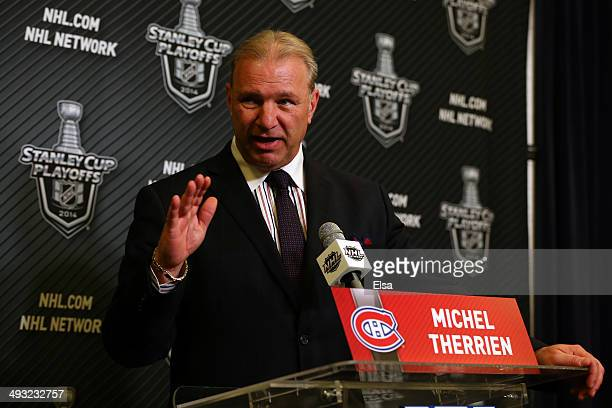 Michel Therrien headcoach of the Montreal Canadiens speaks to the media during a press conference after Game Three of the Eastern Conference Final...