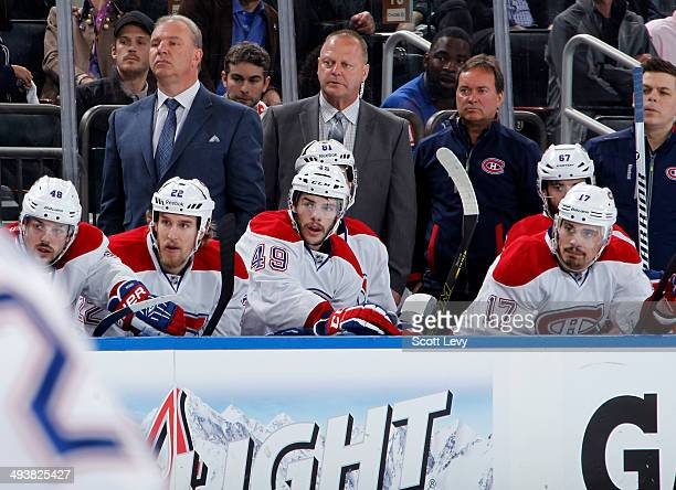 Michel Therrien of the Montreal Canadiens looks on in the first period of Game Four of the Eastern Conference Final against the New York Rangers...