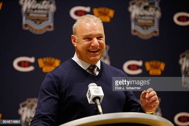 Michel Therrien of the Montreal Canadiens speaks to the media after his team defeated the Boston Bruins 51 in the 2016 Bridgestone NHL Winter Classic...