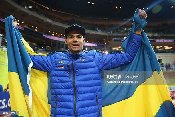 Michel Torneus of Sweden celebrates after winning gold in the Men's Long Jump Final during day one of the 2015 European Athletics Indoor...