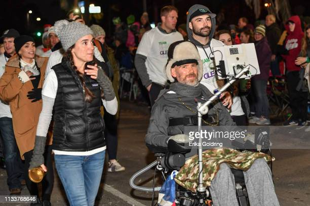 Michel Varisco Gleason and former New Orleans Saints safety Steve Gleason roll in The 2019 Krewe of Orpheus parade on March 4, 2019 in New Orleans,...
