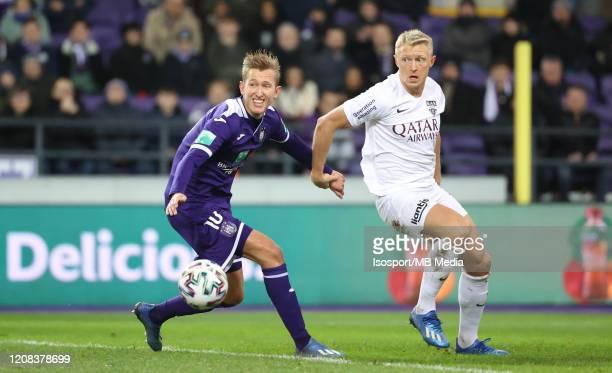 Michel Vlap of Anderlecht battles for the ball with Andreas Beck of KAS Eupen during the Jupiler Pro League match between RSC Anderlecht and AS Eupen...