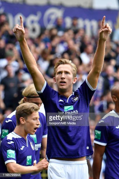 Michel Vlap of Anderlecht celebrates after scoring a goal during the Jupiler Pro League match between RSC Anderlecht and KV Oostende at Lotto Park on...