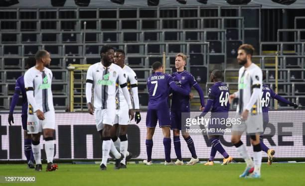 Michel Vlap of Anderlecht celebrates after scoring the 2-0 goal on penalty during the Jupiler Pro League match between RSC Anderlecht and Sporting de...