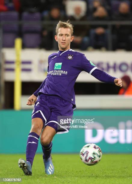 Michel Vlap of Anderlecht in action during the Jupiler Pro League match between RSC Anderlecht and AS Eupen at Lotto Park Stadium on February 23,...