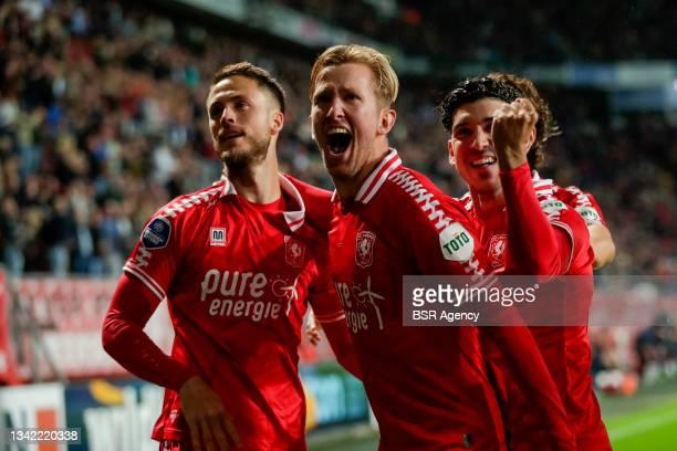 Michel Vlap of FC Twente celebrates his sides first goal during the Dutch Eredivisie match between FC Twente and AZ at De Grolsch Veste on September...