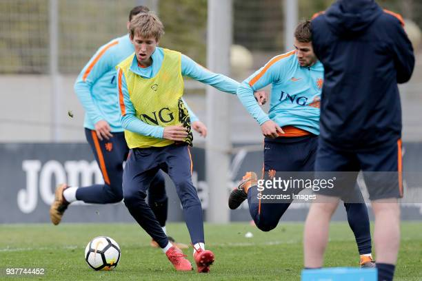 Michel Vlap of Holland U21 Bart Nieuwkoop of Holland U21 during the Training Holland U21 at the Ciutat Esportiva Dani Jarque on March 25 2018 in...