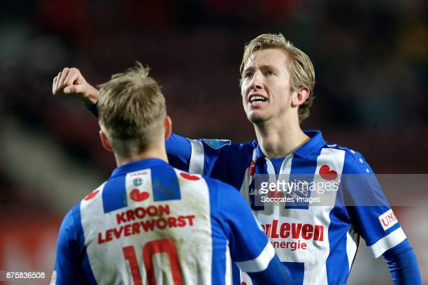 Michel Vlap of SC Heerenveen celebrates 04 with Martin Odegaard of SC Heerenveen during the Dutch Eredivisie match between Fc Twente v SC Heerenveen...