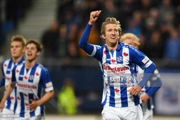 Michel Vlap* of SC Heerenveen celebrates 1-0 during the Dutch Eredivisie match between SC Heerenveen v AZ Alkmaar at the Abe Lenstra Stadium on...