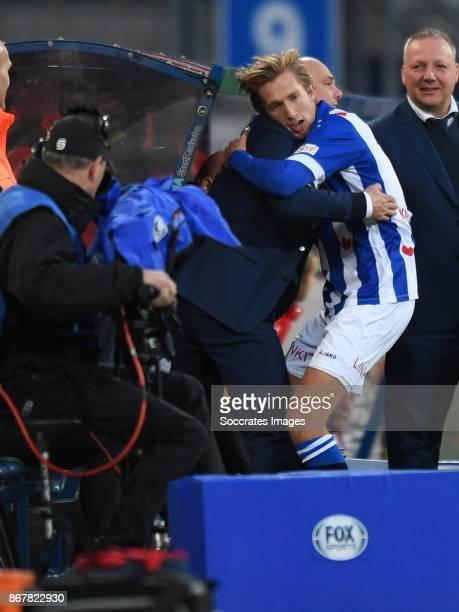*Michel Vlap* of SC Heerenveen celebrates 10 with *coach Jurgen Streppel* of SC Heerenveen during the Dutch Eredivisie match between SC Heerenveen v...