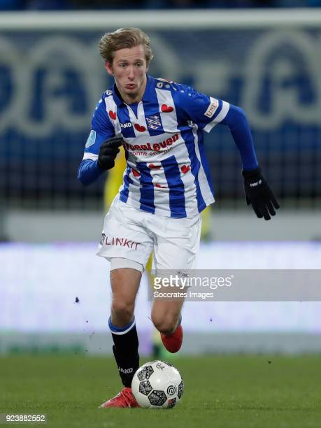 Michel Vlap of SC Heerenveen during the Dutch Eredivisie match between SC Heerenveen v Excelsior at the Abe Lenstra Stadium on February 24 2018 in...