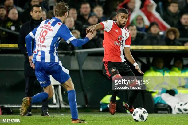 Michel Vlap of SC Heerenveen Jeremiah St Juste of Feyenoord during the Dutch Eredivisie match between Feyenoord v SC Heerenveen at the Stadium...