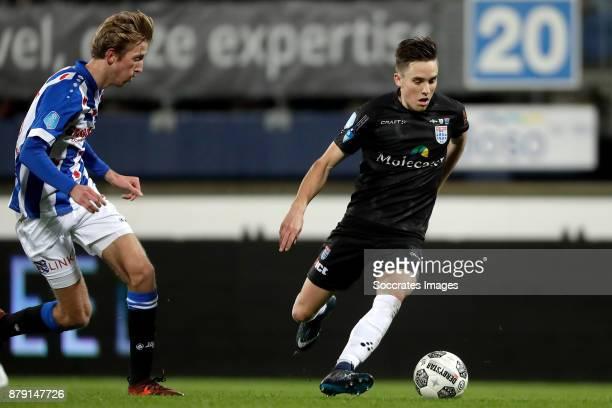 Michel Vlap of SC Heerenveen Ryan Thomas of PEC Zwolle during the Dutch Eredivisie match between SC Heerenveen v PEC Zwolle at the Abe Lenstra...
