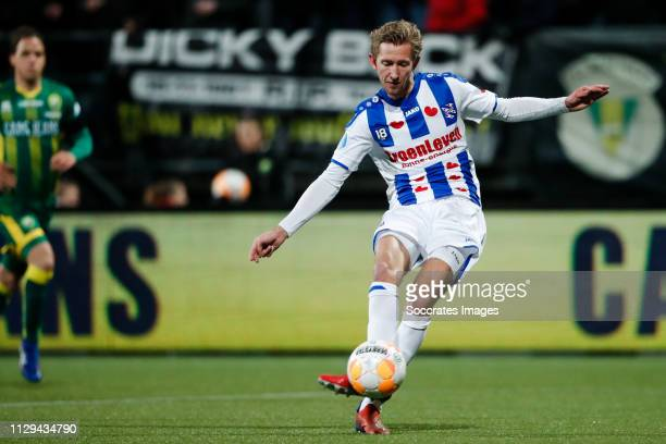 Michel Vlap of SC Heerenveen scores the first goal to make it 01 during the Dutch Eredivisie match between ADO Den Haag v SC Heerenveen at the Cars...