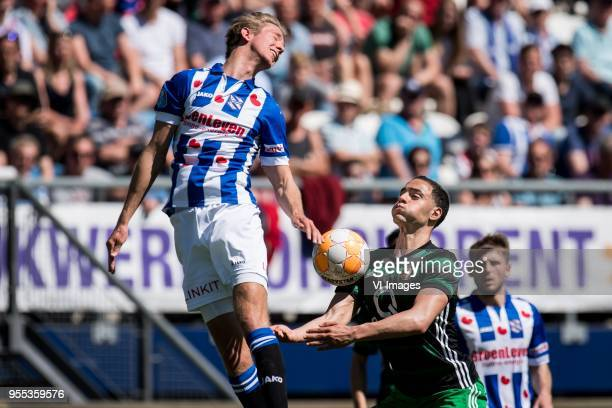Michel Vlap of sc Heerenveen Sofyan Amrabat of Feyenoord during the Dutch Eredivisie match between sc Heerenveen and Feyenoord Rotterdam at Abe...