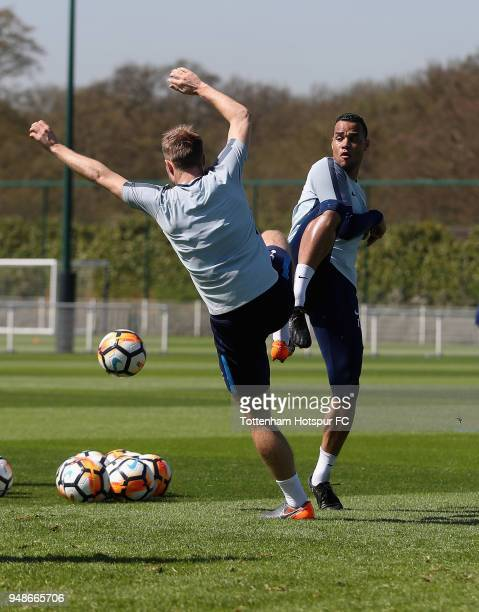 Michel Vorm and Christian Eriksen in action during the Tottenham Hotspur Training Session at Tottenham Hotspur Training Centre on April 19 2018 in...