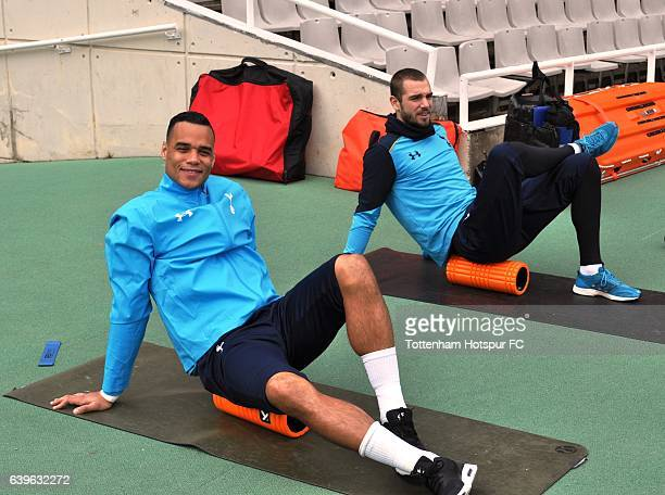 Michel Vorm and Pau Lopez during day 1 of a training camp at the Olympic Stadium on January 23 2017 in Barcelona Spain