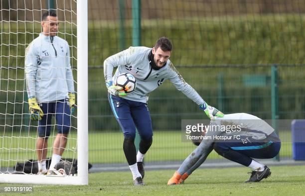 Michel Vorm Hugo Lloris and Paulo Gazzaniga of Tottenham Hotspur during the Tottenham Hotspur training session at Tottenham Hotspur Training Centre...
