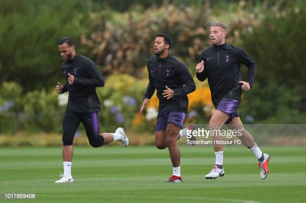 Michel Vorm Mousa Dembele and Toby Alderweireld of Tottenham Hotspur during the Tottenham Hotspur training session at Tottenham Hotspur Training...
