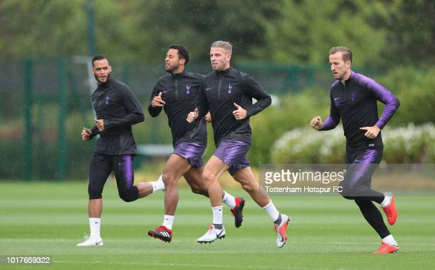 Michel Vorm Mousa Dembele Toby Alderweireld and Harry Kane of Tottenham Hotspur during the Tottenham Hotspur training session at Tottenham Hotspur...