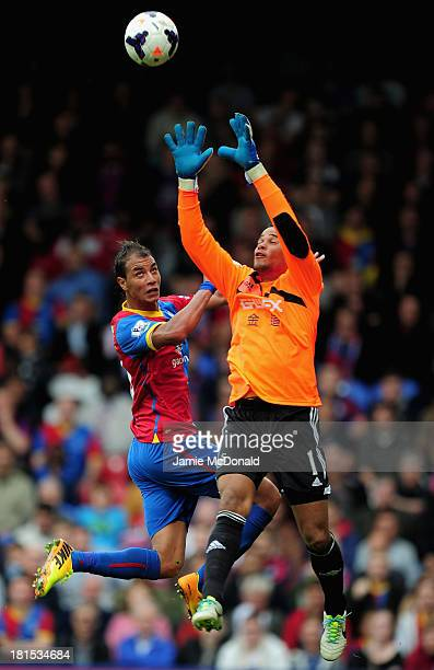 Michel Vorm of Swansea City jumps with Marouane Chamakh of Crystal Palace during the Barclays Premier League match between Crystal Palace and Swansea...