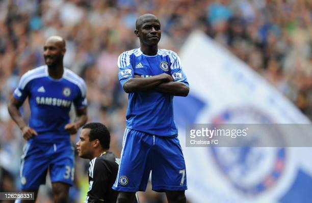 Michel Vorm of Swansea City looks dejected as Ramires of Chelsea celebrates as he scores their third goal during the Barclays Premier League match...
