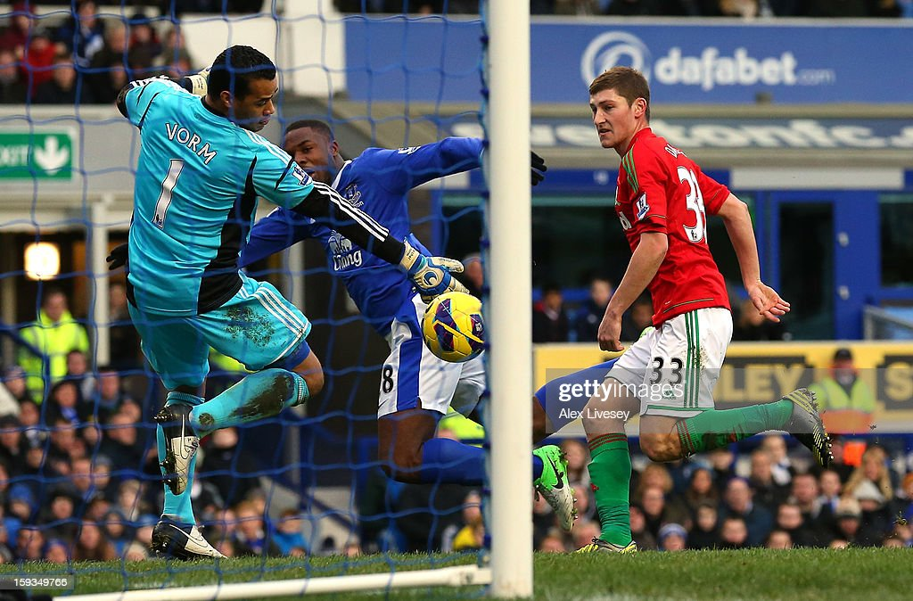 Michel Vorm of Swansea City makes a save from Victor Anichebe of Everton during the Barclays Premier League match between Everton and Swansea City at Goodison Park on January 12, 2013 in Liverpool, England.