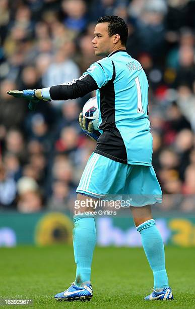 Michel Vorm of Swansea in action during the Barclays Premier League match between West Bromwich Albion and Swansea City at The Hawthorns on March 9...