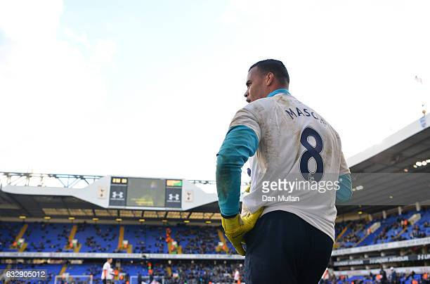 Michel Vorm of Tottenaham Hotspur warms up wearing the tshirt of getwell message for Ryan Mason of Hull City prior to the Emirates FA Cup Fourth...