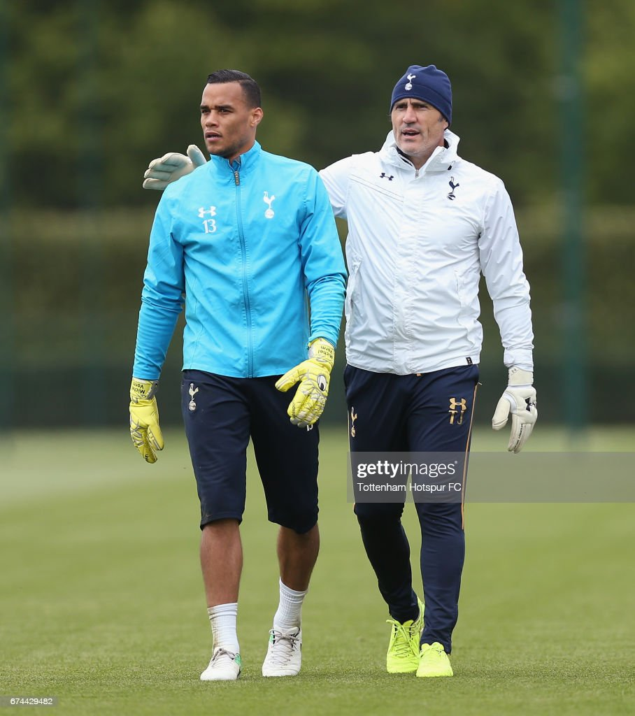 Michel Vorm of Tottenham and goalkeeping coach Toni Jiménez during the Tottenham Hotspur training session at Tottenham Hotspur Training Centre on April 28, 2017 in Enfield, England.