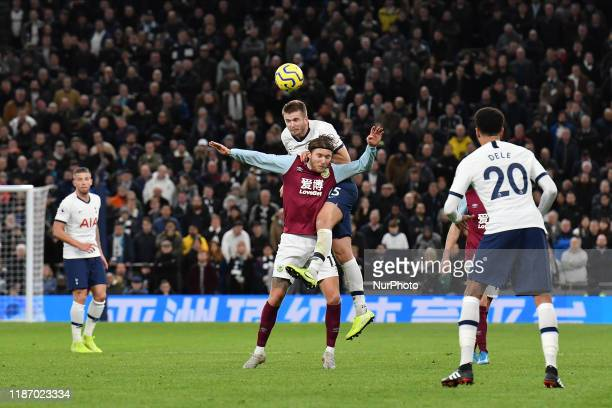 Michel Vorm of Tottenham battles for possession with Jeff Hendrick of Burnley during the Premier League match between Tottenham Hotspur and Burnley...