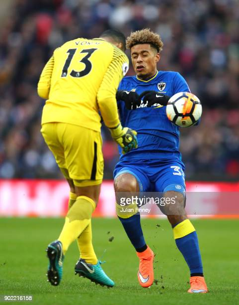 Michel Vorm of Tottenham Hotspur and Lyle Taylor of AFC Wimbledon clash during The Emirates FA Cup Third Round match between Tottenham Hotspur and...