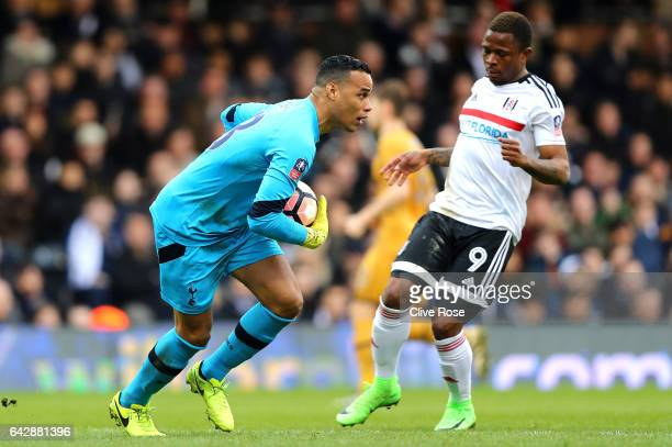 Michel Vorm of Tottenham Hotspur claims the ball from Gohi Bi Cyriac of Fulham during The Emirates FA Cup Fifth Round match between Fulham and...