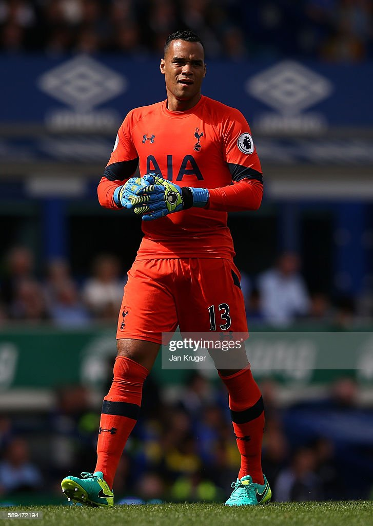 Michel Vorm of Tottenham Hotspur during the Premier League match between Everton and Tottenham Hotspur at Goodison Park on August 13, 2016 in Liverpool, England.