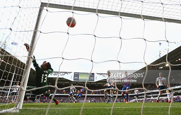Michel Vorm of Tottenham Hotspur fails to stop the shot by Martin Kelly of Crystal Palace for the opening goal during the Emirates FA Cup Fifth Round...