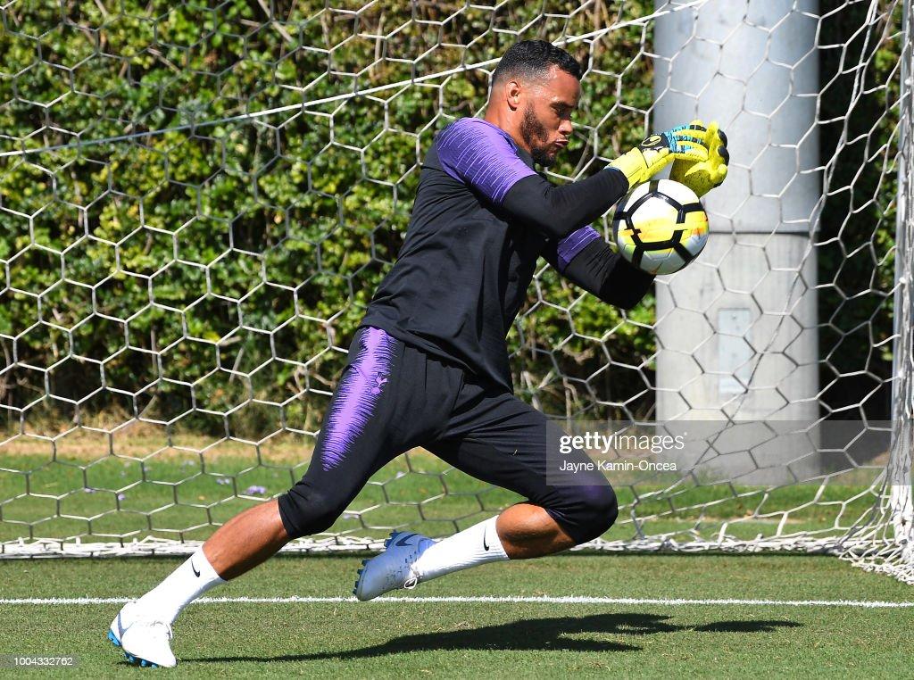 Michel Vorm #13 of Tottenham Hotspur FC practices at Loyola Marymount University on July 23, 2018 in Playa del Rey, California.
