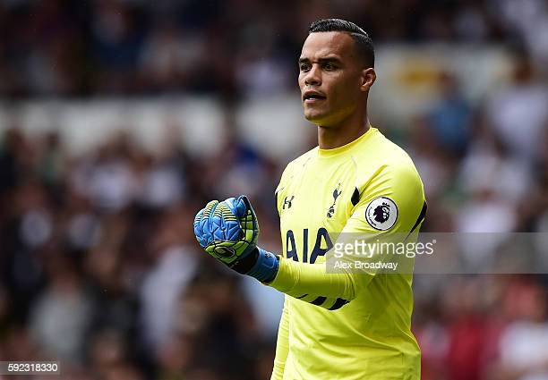 Michel Vorm of Tottenham Hotspur gestures during the Premier League match between Tottenham Hotspur and Crystal Palace at White Hart Lane on August...