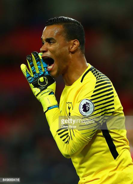 Michel Vorm of Tottenham Hotspur gives his team instructions during the Carabao Cup Third Round match between Tottenham Hotspur and Barnsley at...