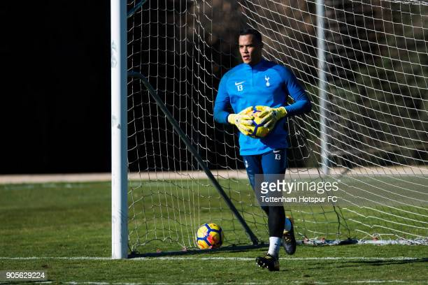 Michel Vorm of Tottenham Hotspur holds the ball during a training session during day two of the Tottenham Hotspur midseason training camp at High...