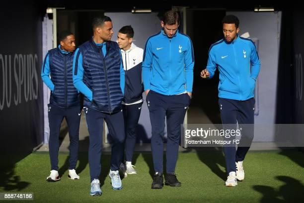 Michel Vorm of Tottenham Hotspur Jan Vertonghen of Tottenham Hotspur and Mousa Dembele of Tottenham Hotspur arrive at the stadium prior to the...