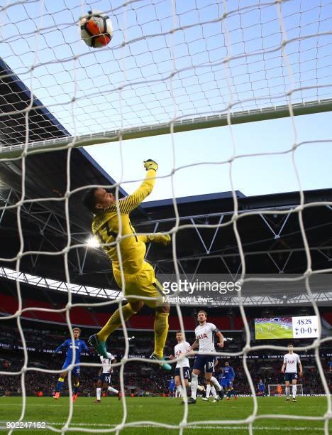 Michel Vorm of Tottenham Hotspur makes a save during The Emirates FA Cup Third Round match between Tottenham Hotspur and AFC Wimbledon at Wembley...