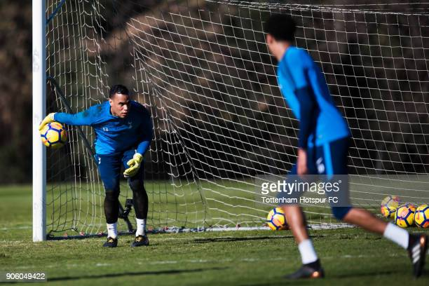 Michel Vorm of Tottenham Hotspur plays the ball during a training session during day three of the Tottenham Hotspur midseason training camp at High...