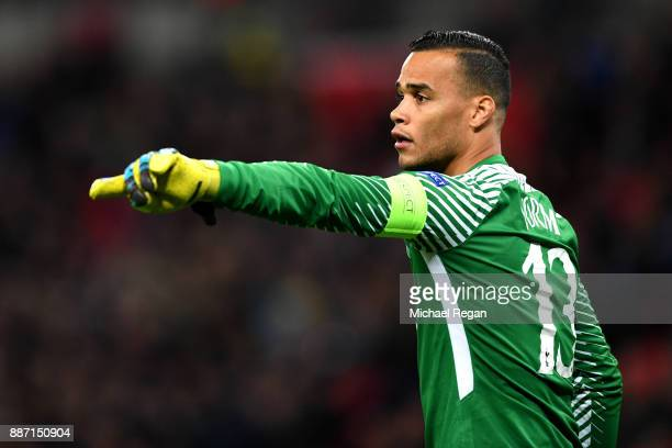 Michel Vorm of Tottenham Hotspur points during the UEFA Champions League group H match between Tottenham Hotspur and APOEL Nicosia at Wembley Stadium...