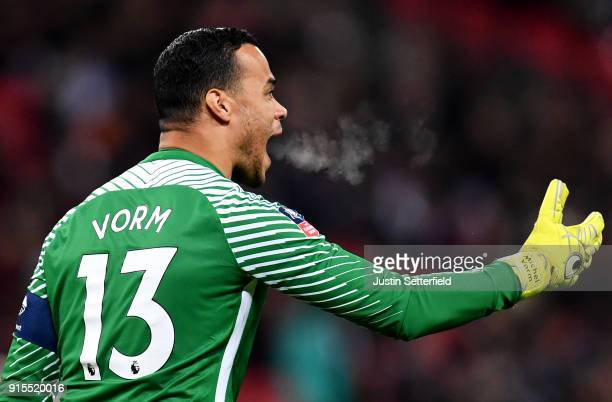 Michel Vorm of Tottenham Hotspur reacts during The Emirates FA Cup Fourth Round Replay between Tottenham Hotspur and Newport County at Wembley...