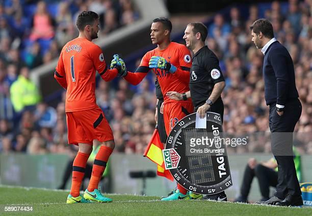 Michel Vorm of Tottenham Hotspur replaces Hugo Lloris of Tottenham Hotspur during the Premier League match between Everton and Tottenham Hotspur at...