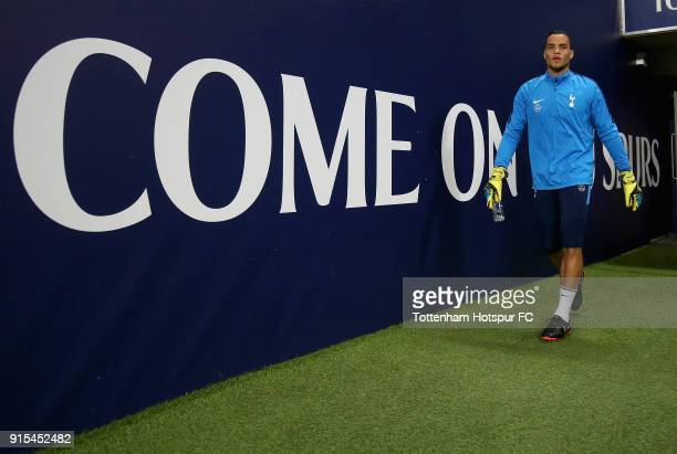 Michel Vorm of Tottenham Hotspur walks out to warm up prior to The Emirates FA Cup Fourth Round Replay match between Tottenham Hotspur and Newport...