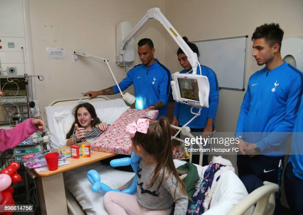 Michel Vorm Renee Hector and Anthony Georgiou meet a young patient during a Tottenham Hotspur player visit at Princess Alexandra Hospital on December...